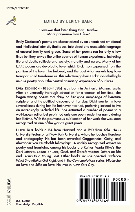 Dickinson on Love back cover
